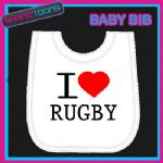 I LOVE HEART RUGBY WHITE BABY BIB EMBROIDERED